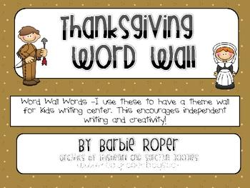 Theme Thanksgiving Word Wall