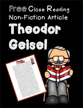 Theodor Geisel Close Reading Passage FREE