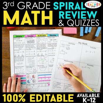 3rd Grade Spiral Math Homework {Common Core} - ENTIRE YEAR!!! - 100% Editable