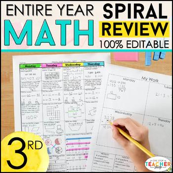 3rd Grade Spiral Math Homework{Common Core}- ENTIRE YEAR!!! - 100% Editable