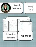 Time in Spanish: La Hora, Que Hora Es? 2 Practice Worksheets