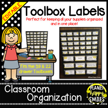 Teacher Toolbox Labels (Editable) ~ Black and White Polka Dot