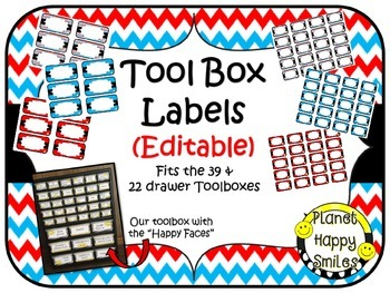Teacher Toolbox Labels (Editable) ~ Red, White & Blue Chevron