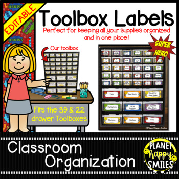 Teacher Toolbox Labels (Editable) ~ Super Hero Theme