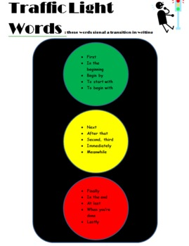 """Traffic Light"" transition words poster"