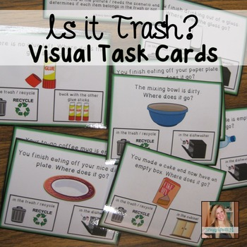 Helping teach students what to throw away and what to save (Task Cards for Special Education)