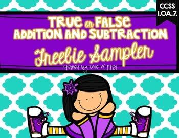 True or False Equations FREEBIE SAMPLER
