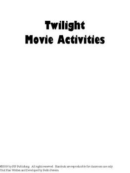 Twilight Movie Activities and Follow-Along Movie Questions