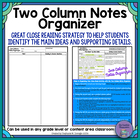 Two Column Notes Organizer: Identifying Main Ideas and Sup