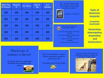 Types of Sentences Trivia Upper Grades-Good Review