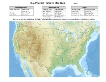 Us Physical Map Blank Globalinterco - Map of us physical features