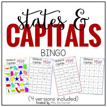 US States and Capitals BINGO