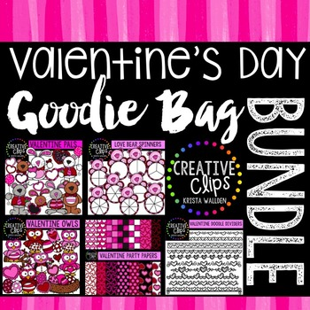 Valentine Goodie Bag Bundle {Creative Clips Digital Clipart}