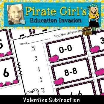 Valentine Hearts Subtraction Game