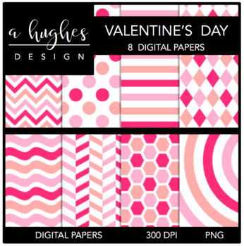 Valentine's Day {12x12 Digital Papers for Commercial Use}