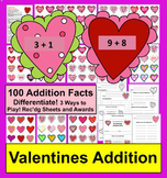 Valentine's Day Math Addition Fact Games-100 Facts-Differe