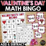 Valentine's Day Addition and Subtraction Math Bingo, First Grade