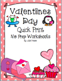 Valentines Day Quick Print Worksheets