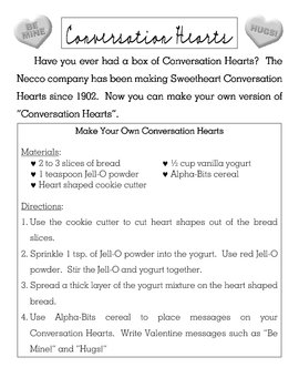Valentines Day Recipe Activity