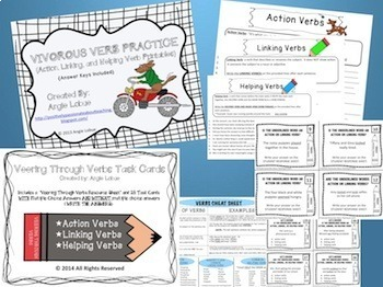 Verbs Bundle: Action, Linking, & Helping Verbs Task Cards and Printables