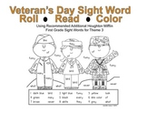 Veteran's Day First Grade Sight Word Roll and Color
