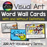 Visual Art Vocabulary Word Wall Cards (100 vocabulary word