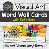 Visual Art Vocabulary Word Wall Cards WITH Definitions (15