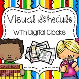 Visual Pocket Chart Schedule Cards with Digital Clocks