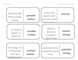 Vocabulary Dominoes - Forces and Motion Unit
