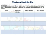 Vocabulary Prediction Chart Context Clues Practice