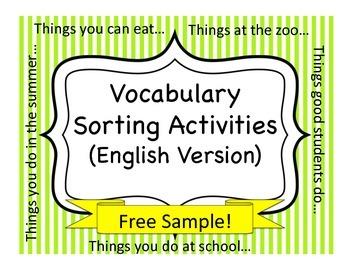 Vocabulary Sorting Activities:  FREE SAMPLE!