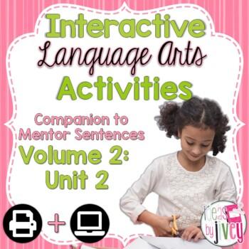 Volume 2 Language Arts Notebook Companion for SECOND Mentor Sentence Unit