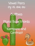 Vowel Pairs oy oi aw au, Suffixes, Compare Contrast Venn Diagram