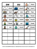 Vowel Phonics Patterns Picture and Word Sorts (ow, ou)