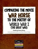 """""""War Horse"""" Movie and World War I Poetry Common Core Activities"""