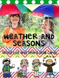 Weather and Season Word List and Word Wall Cards