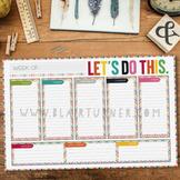 Weekly Calendar Desk Pad {Colorful Chevron}