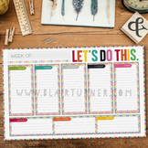 Weekly Calendar Desk Pad {Colorful Chevron}