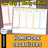 Weekly Homework Organization Sheets (4 Choices)