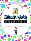 Weekly Homework Sheets Themed for Different Months of the