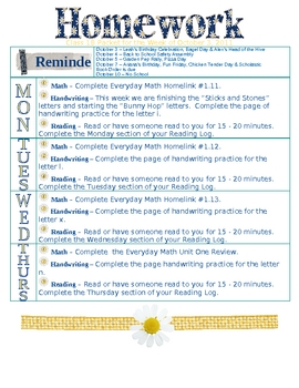 Weekly Homework Template