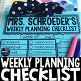 Weekly Planning Checklist - Editable!