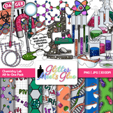 Weird Science Chemistry Lab Clipart, Frames, Badges & Pape