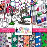 Weird Science Chemistry Lab Clip Art, Frames, Badges & Paper