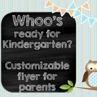 Kindergarten Welcome Back to School Owl Pamphlet Flyer Kin