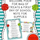 Welcome Poem for a Bag of Treats and First Day Welcome Not