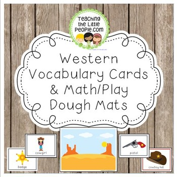 Western-Themed Vocabulary Cards and Math/Play Dough Mats Image