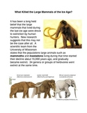 What killed the Large Mammals of the Last Ice Age?