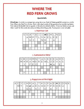 Where the Red Fern Grows: 10 Quotefall Puzzles--Similies f