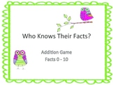 Who Knows Their Facts? Addition Game